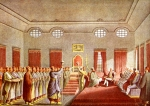 The reception of the English Ambassador to the Porte, Sir Robert Ainslie, by Alexandru Vodă Moruzzi of Wallachia (1794) at the Prince's Palace in Bucharest (engraving by Luigi Mayer, from the album 'Views of the Ottoman Empire', p.19 (BAR, the Engravings Department, cota Dr GE 18 Watts W.1)