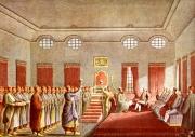 Primirea ambasadorului englez  la Poartă, Sir Robert Ainslie, de către Alexandru Vodă Moruzzi al Țării Românești (1794) la Palatul domnesc din București (gravură după Luigi Mayer, din albumul Views of the Ottoman Empire pl9, (BAR Cabinetul de Stampe, cota Dr GE 18 II Watts W. 1)