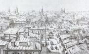 Bucureștii la 1868 văzuți din Turnul Colței, acuarelă originală de Preziosi, Cabinetul de Stampe, Biblioteca Academiei Române